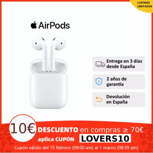 Apple Airpods V2 Modelo 2019 auriculares inalámbricos, ORIGINALES, 2º generación con estuche de carga lighting para iPhone iPad